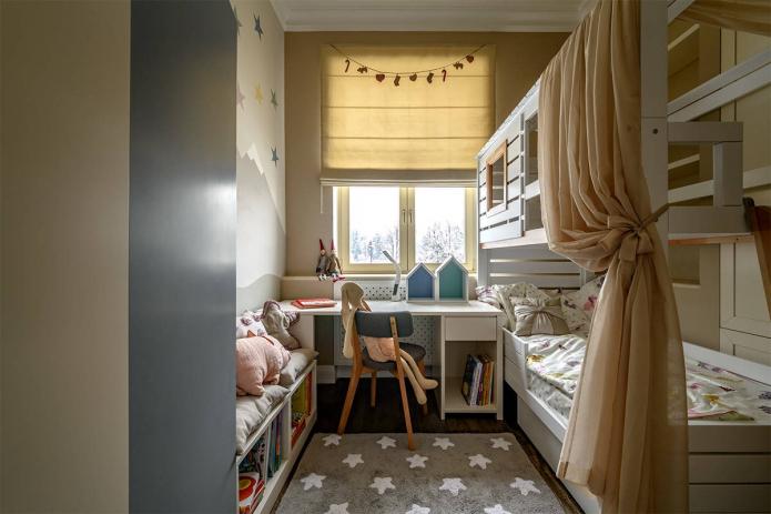lit superposé dans une pièce étroite