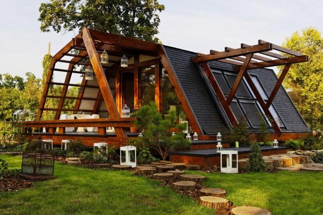 Maison à ossature de style rustique