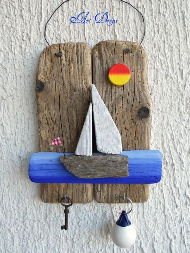 Porte-clés-panneau fait de planches de bois