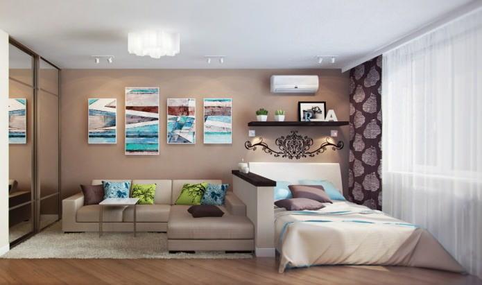 Petit canapé d'angle dans le salon-chambre