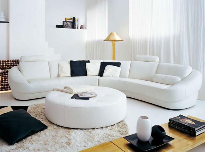 canapé d'angle semi-circulaire pour le salon