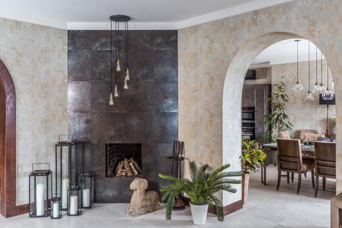 porte décorée de plâtre