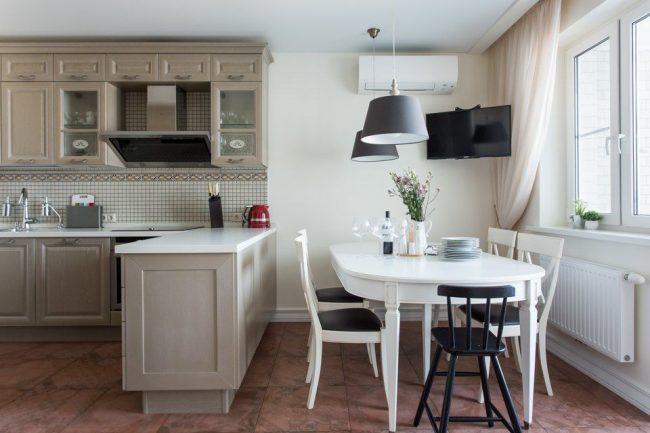 Plateau de table blanc avec pierre décorative - semble élégant et cher