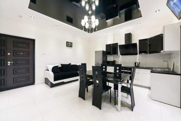 conception de cuisine en noir et blanc