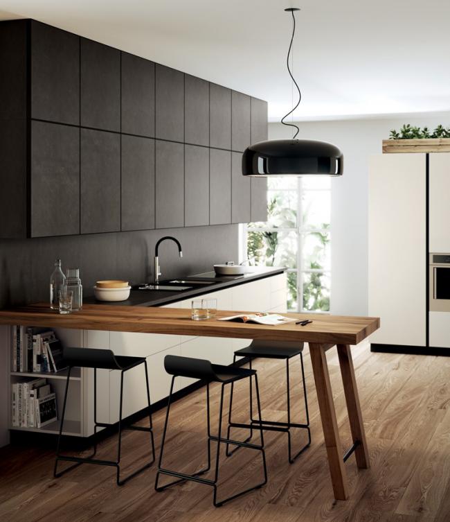 Vue linéaire de la conception de la salle de cuisine
