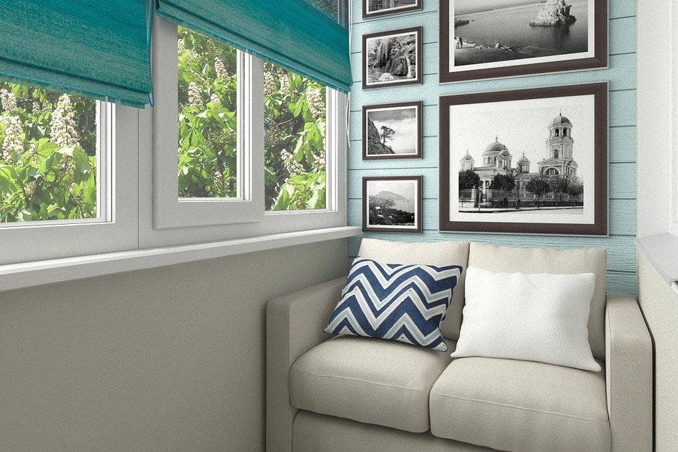 Canapé sur le balcon ou la loggia: types, design, formes, options de placement