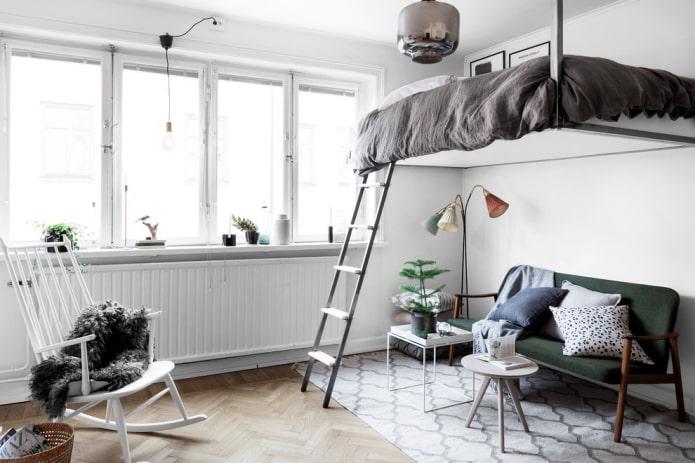 Lit mezzanine style scandinave
