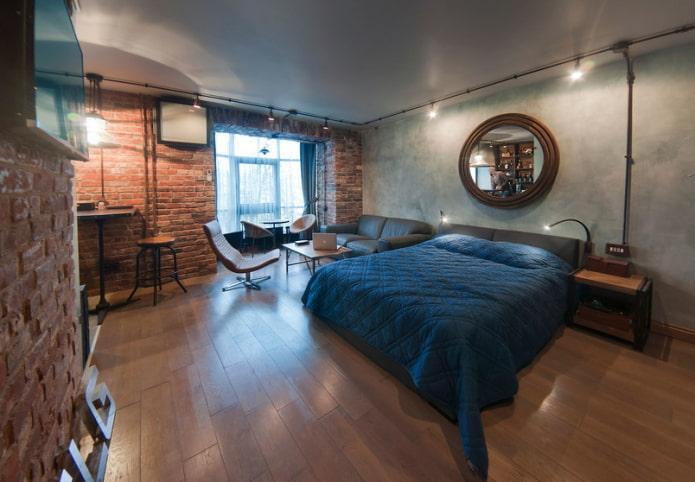 Grand lit double dans le salon