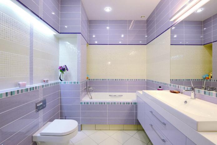 carrelage lavande dans la salle de bain