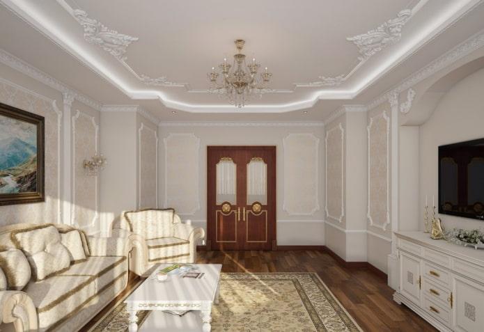 décoration en stuc autour du périmètre du plafond