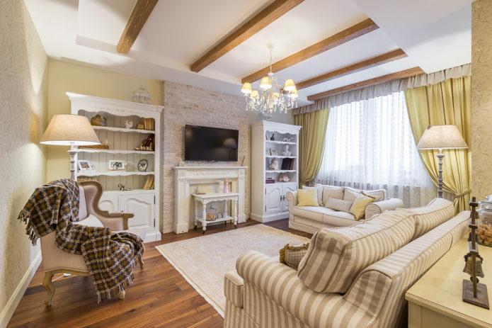 lustre à l'intérieur du salon de style provençal