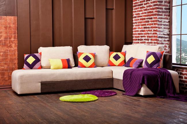 Canapé pivotant léger pour deux places avec coussins lumineux