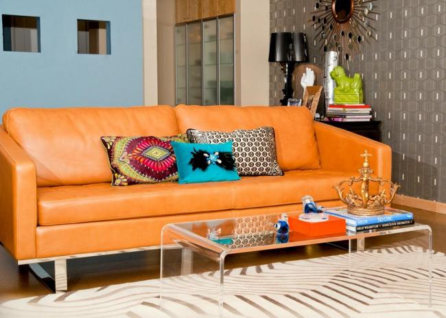 Canapé lumineux eurobook en cuir pour le salon