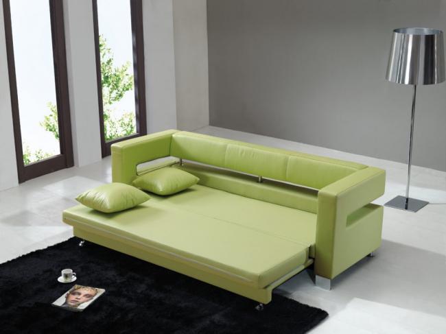 Un canapé en cuir de haute qualité de couleur vert clair deviendra le point culminant d'un salon lumineux