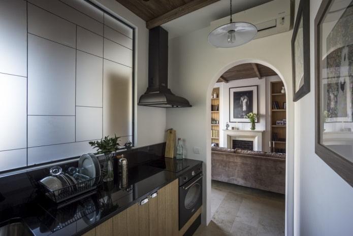 arche en plaques de plâtre entre cuisine et séjour