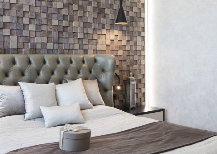 carreaux de mosaïque en bois dans la chambre