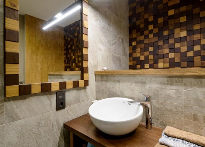 carreaux de mosaïque en bois dans la salle de bain