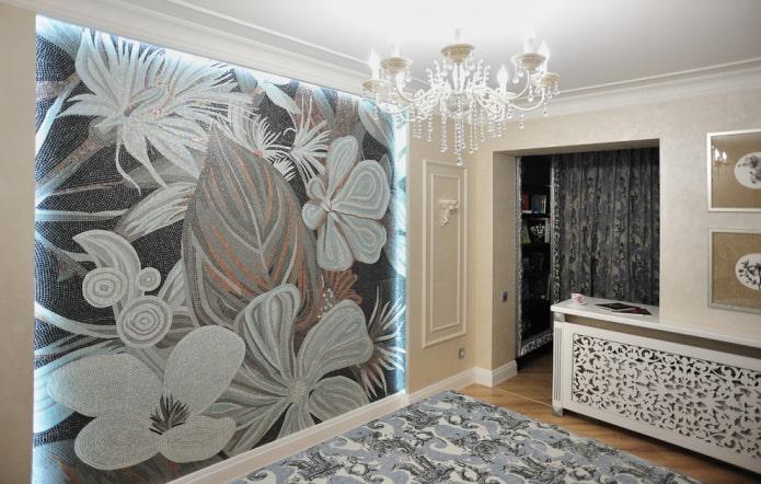 panneau de mosaïque et intérieur de la chambre