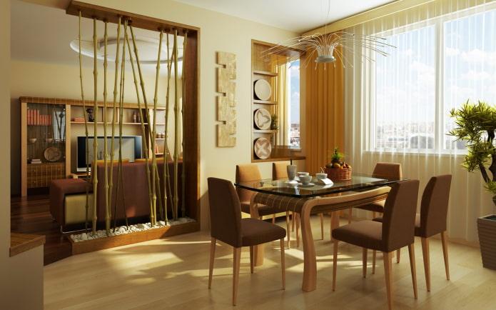 cloison en bambou à l'intérieur de la cuisine-salon