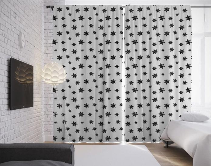 rideaux de nuit avec des images d'étoiles