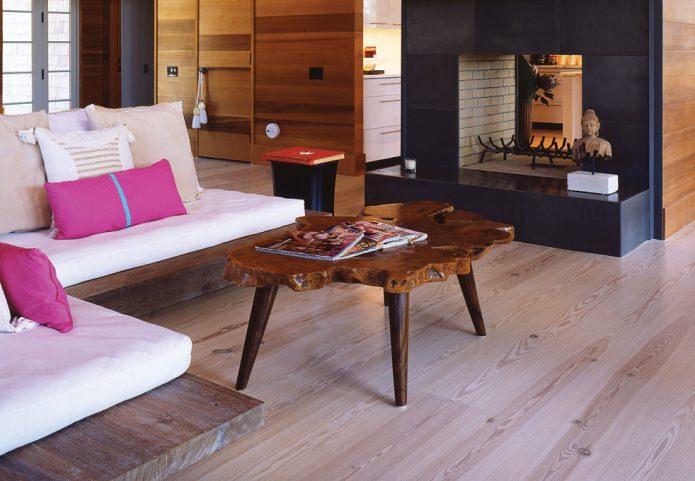 table en stratifié clair et bois
