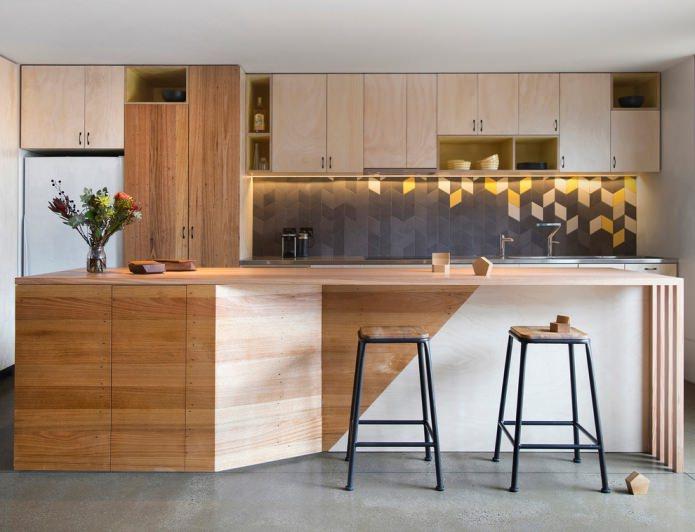 façades en bois dans la cuisine