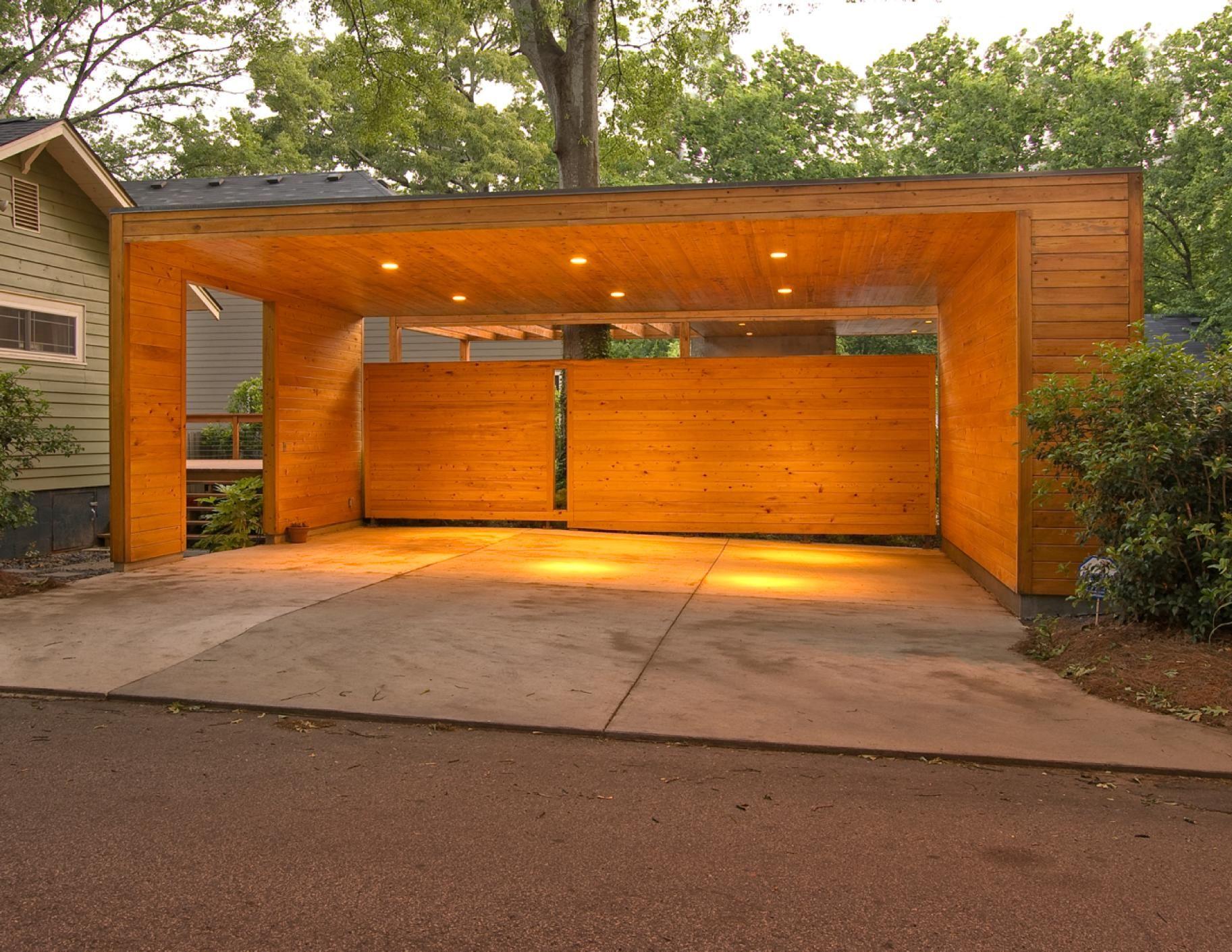 Auvent en bois avec éclairage intégré