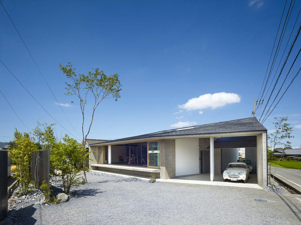 Auvent et maison avec un seul toit