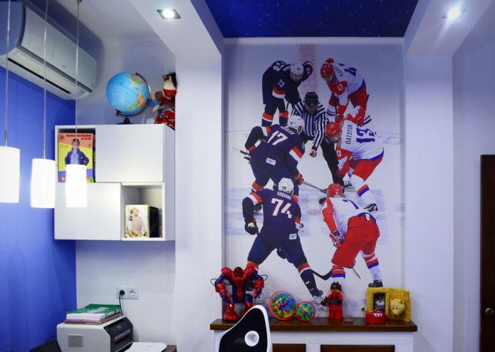 thème de hockey dans la crèche pour un garçon