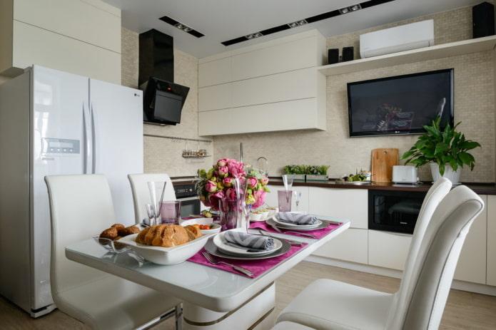 l'emplacement du téléviseur à l'intérieur de la cuisine