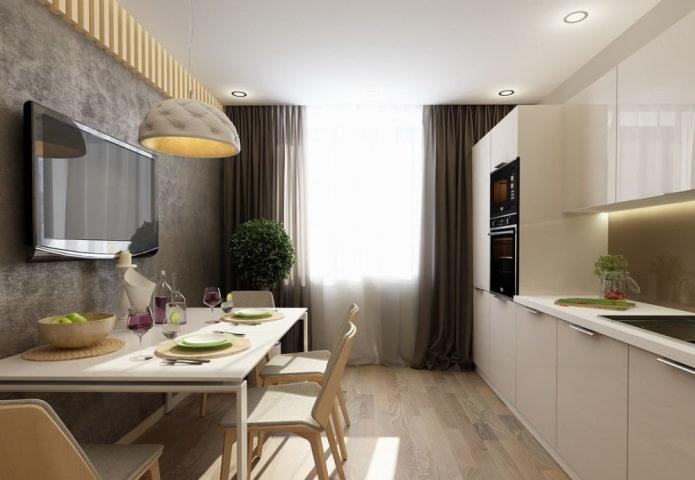 TV au-dessus de la table dans la cuisine