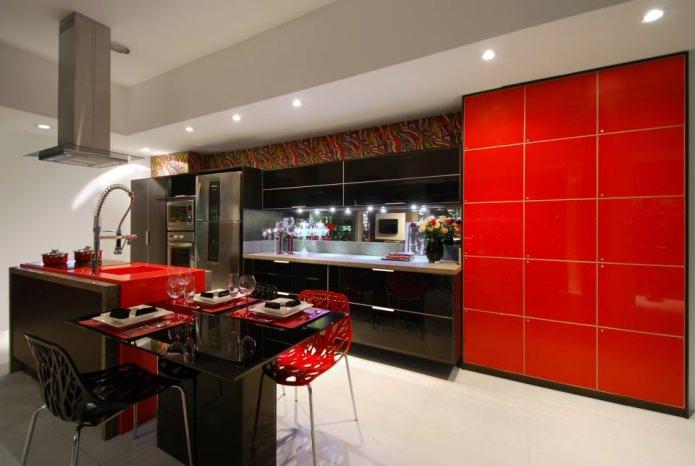combiner le rouge et le noir dans la cuisine