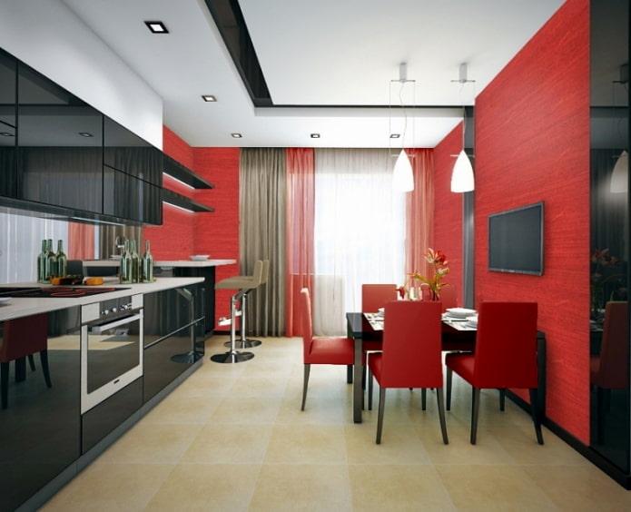 rideaux à la cuisine rouge et noir