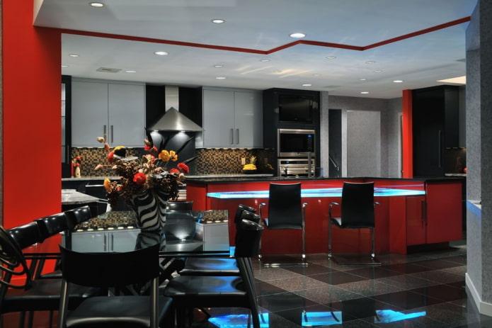 Cuisine rouge et noire avec placards gris