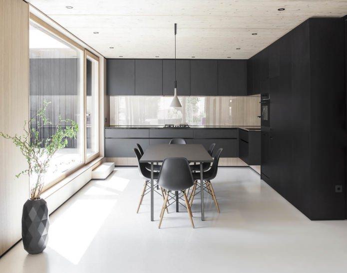 cuisine avec set noir mat