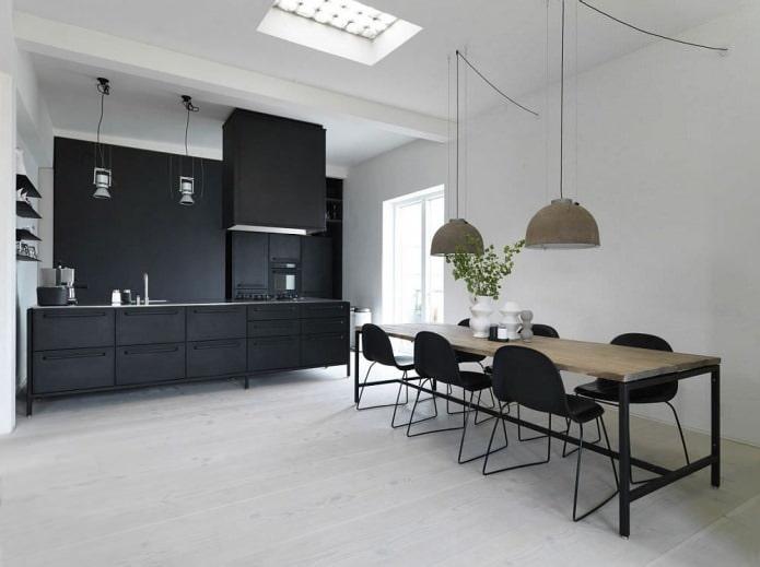 conception de cuisine avec ensemble noir