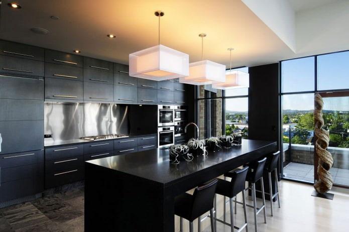 conception de cuisine dans un style moderne avec un ensemble noir