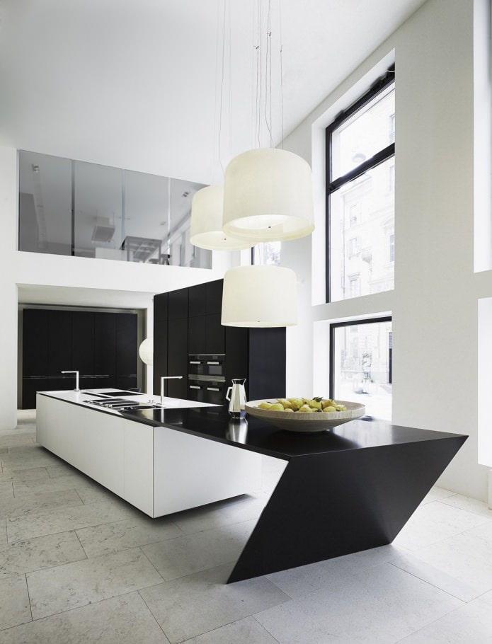 ensemble noir moderne à l'intérieur de la cuisine