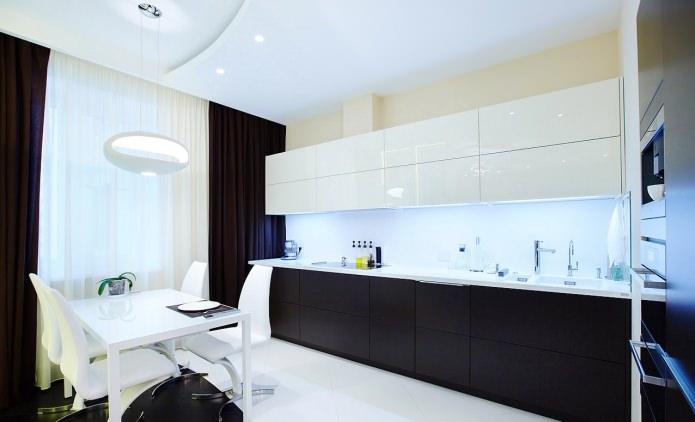 cuisine minimaliste avec ensemble noir et blanc