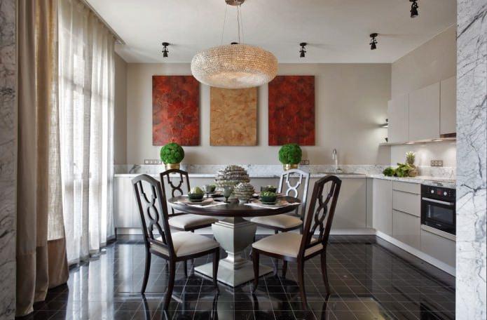 rideaux en lin dans la cuisine