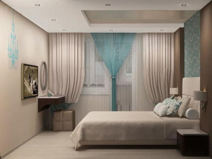 intérieur de chambre beige turquoise