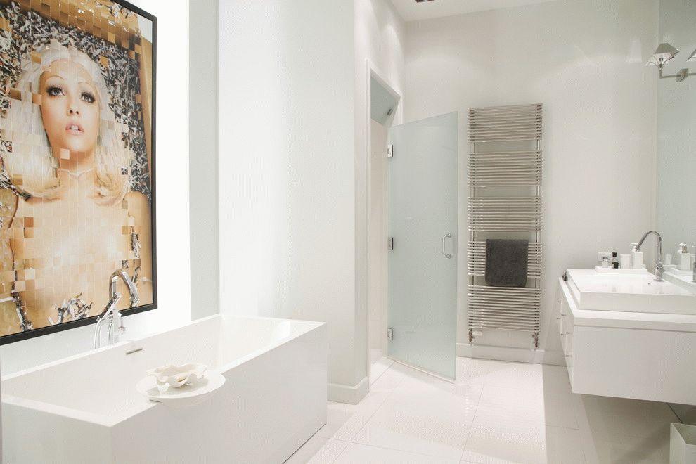 Porte de salle de bain en verre dépoli