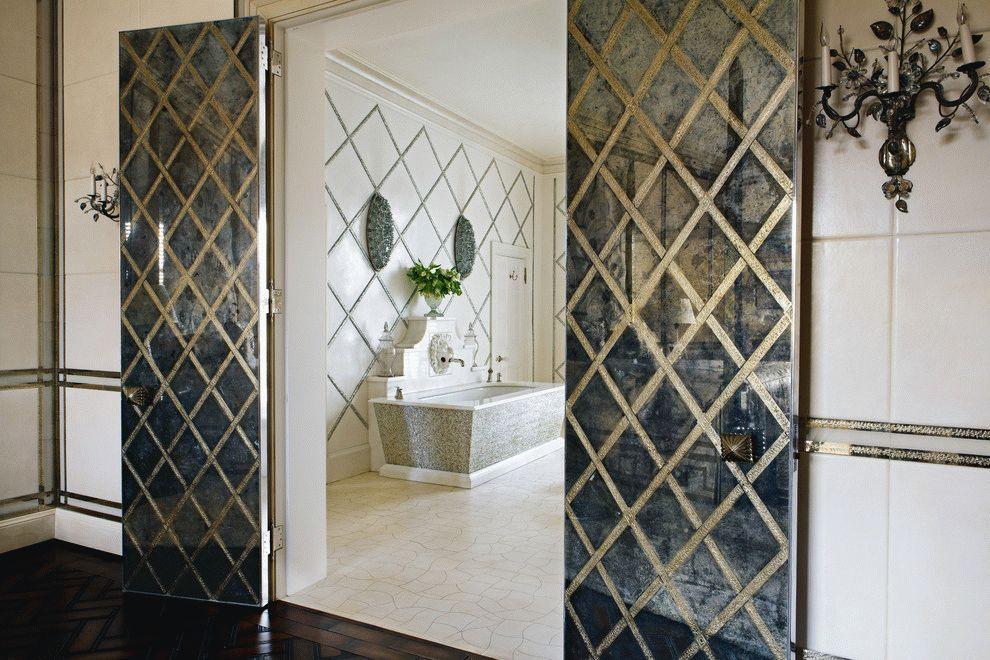 Portes battantes de salle de bain avec un simple motif en losange