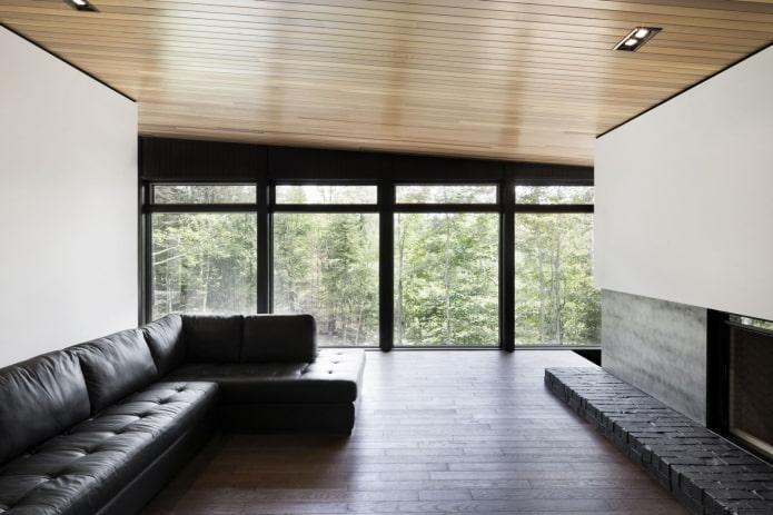 structure de plafond en bois à un niveau