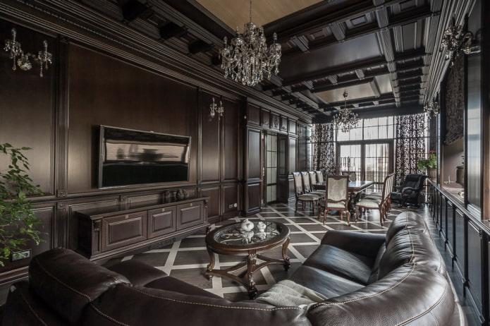 plafond en bois de wengé dans la salle à manger