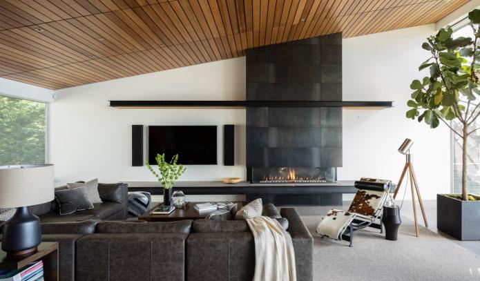 plafond en bois dans le salon