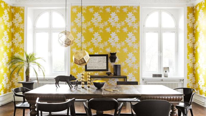 papier peint jaune en papier à l'intérieur