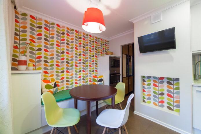 papier peint en papier à l'intérieur de la cuisine