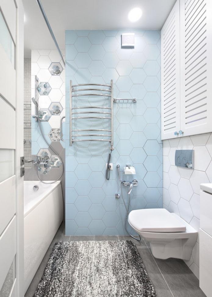 salle de bain bleu et blanc
