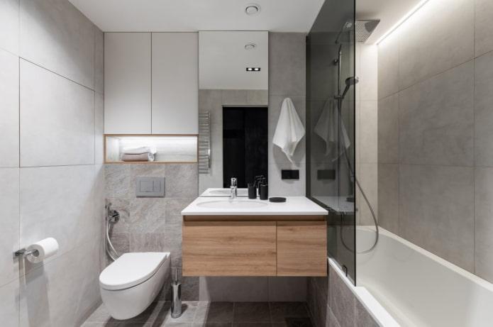 carrelage effet béton dans la salle de bain